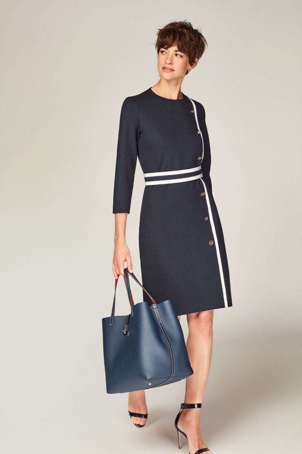 Stretch-knit dress with grosgrain
