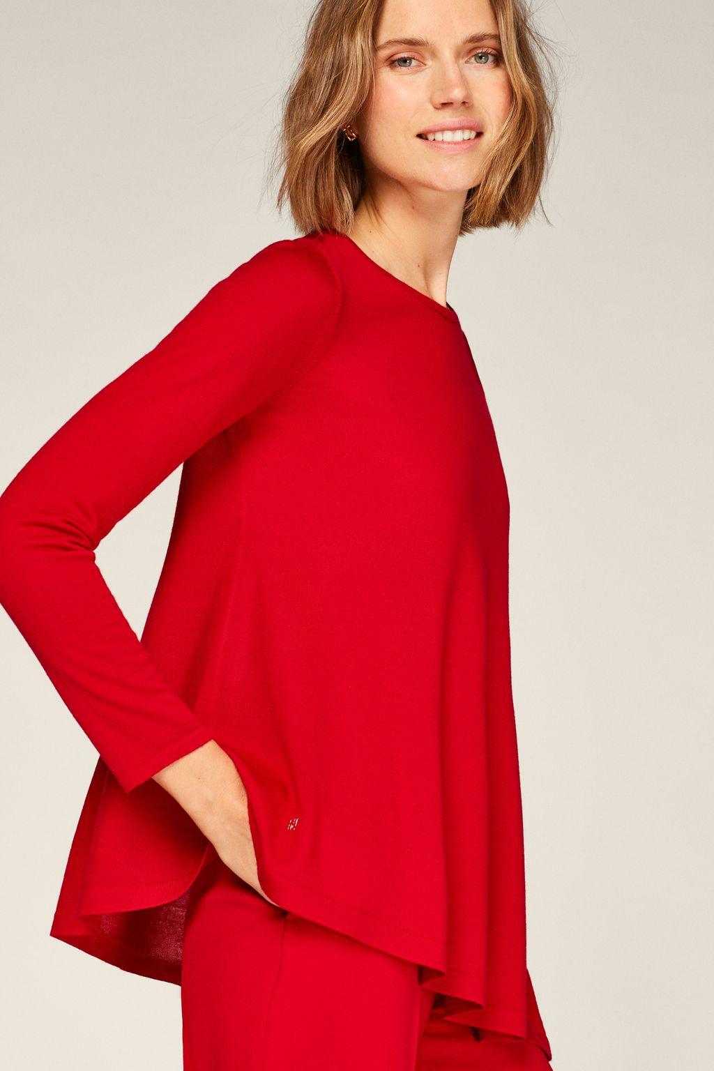 Asymmetric merino wool sweater