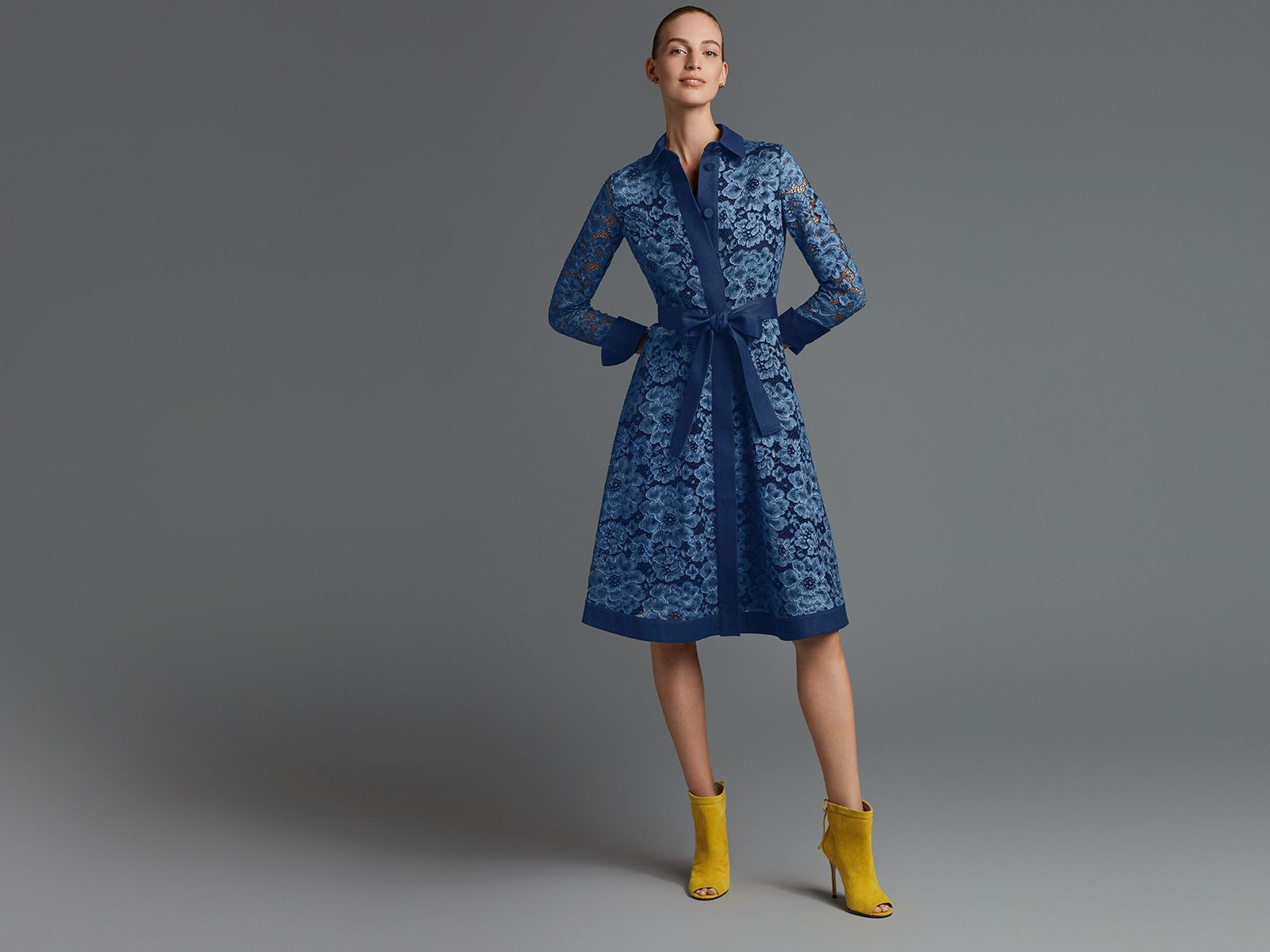 Lace and denim shirt dress
