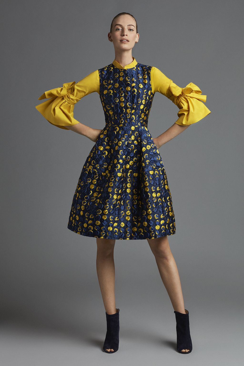 Fit-and-flare brocade dress