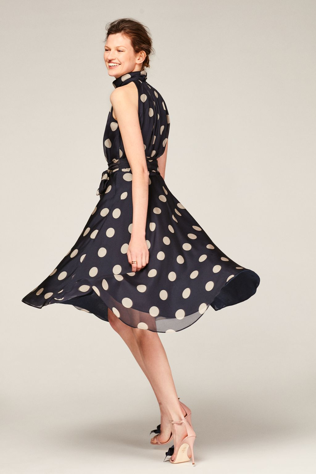 Polka dot silk dress