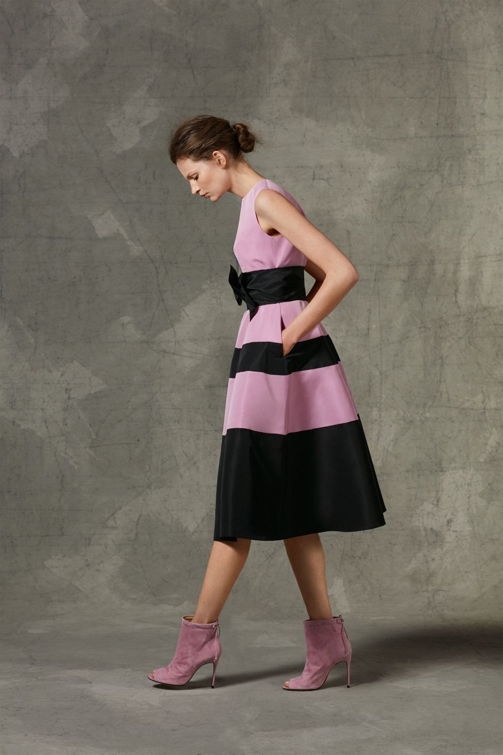 Fit-and-flare taffeta dress