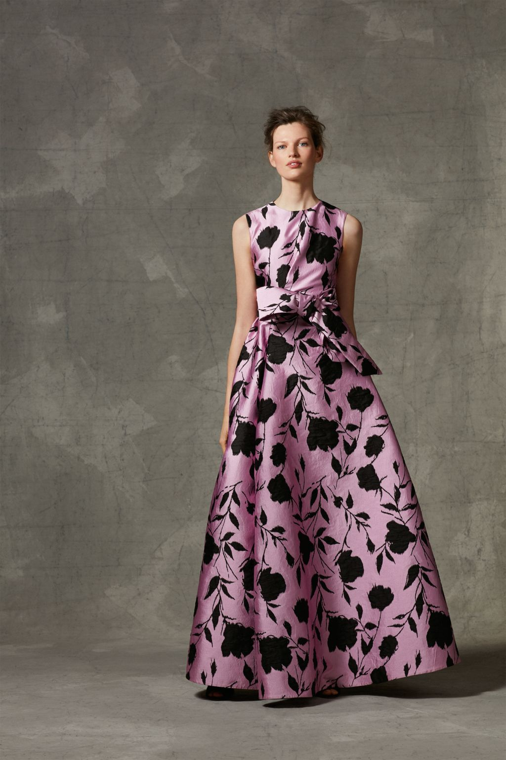 Brocade dress with bow