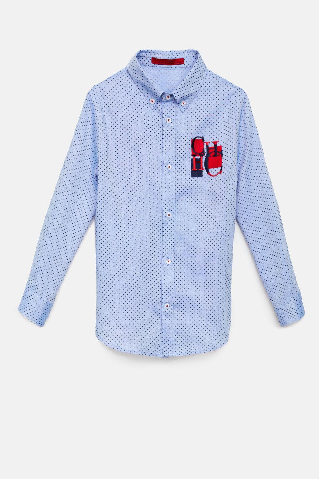 Polka dot pinpoint shirt