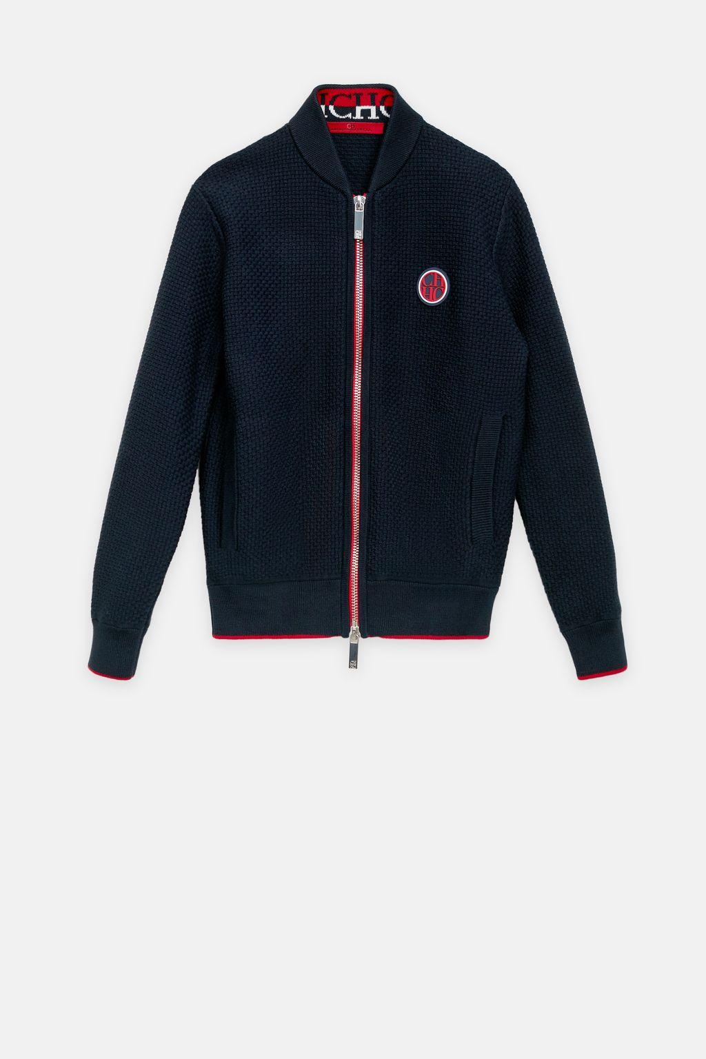 Structured knit bomber jacket