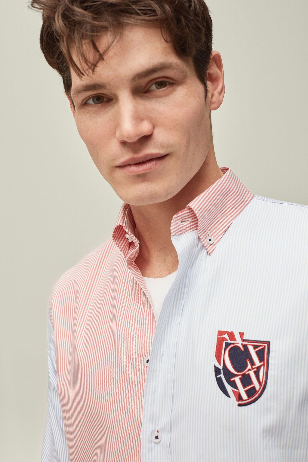 Escudo patchwork Oxford shirt