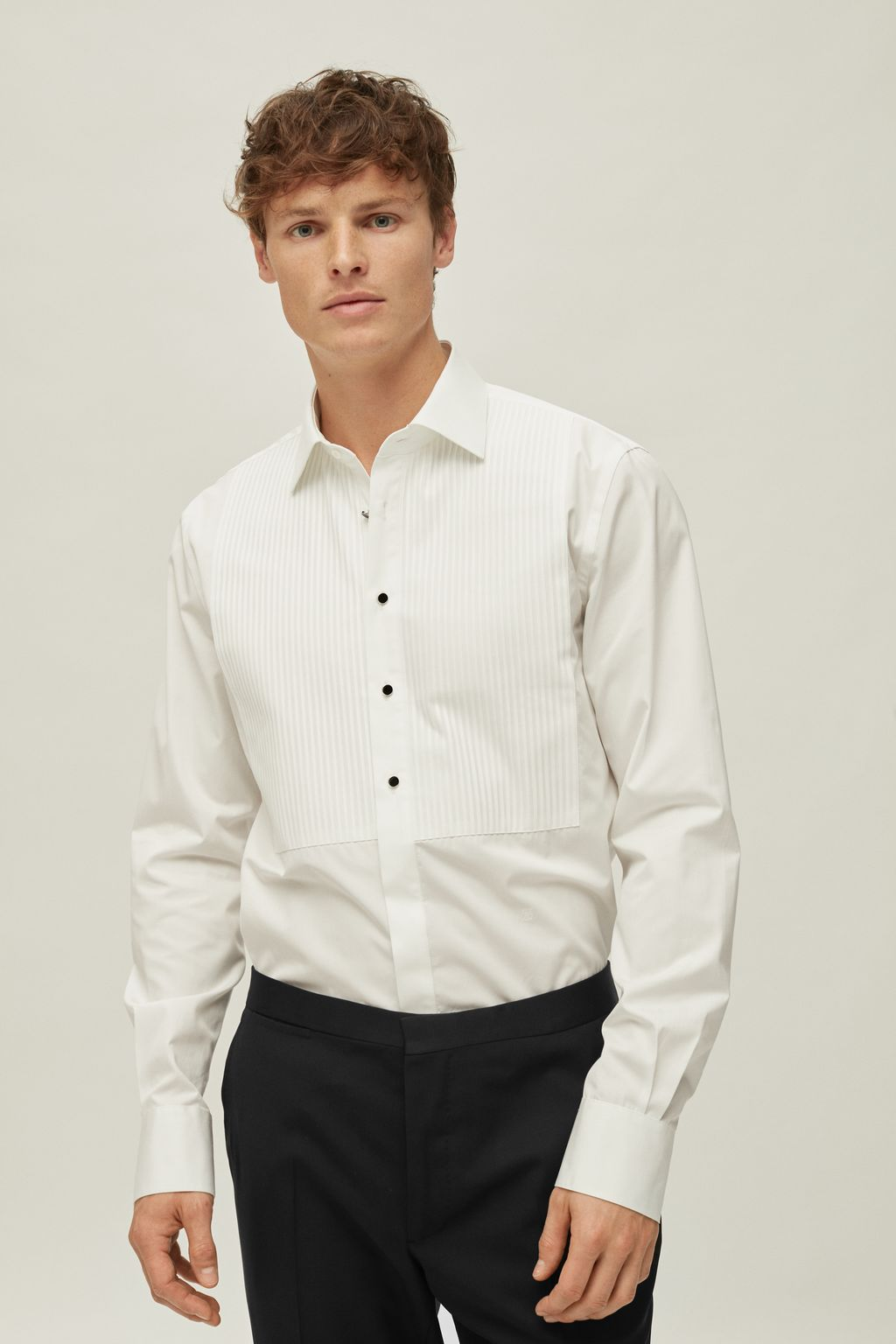 Pleated bib poplin shirt