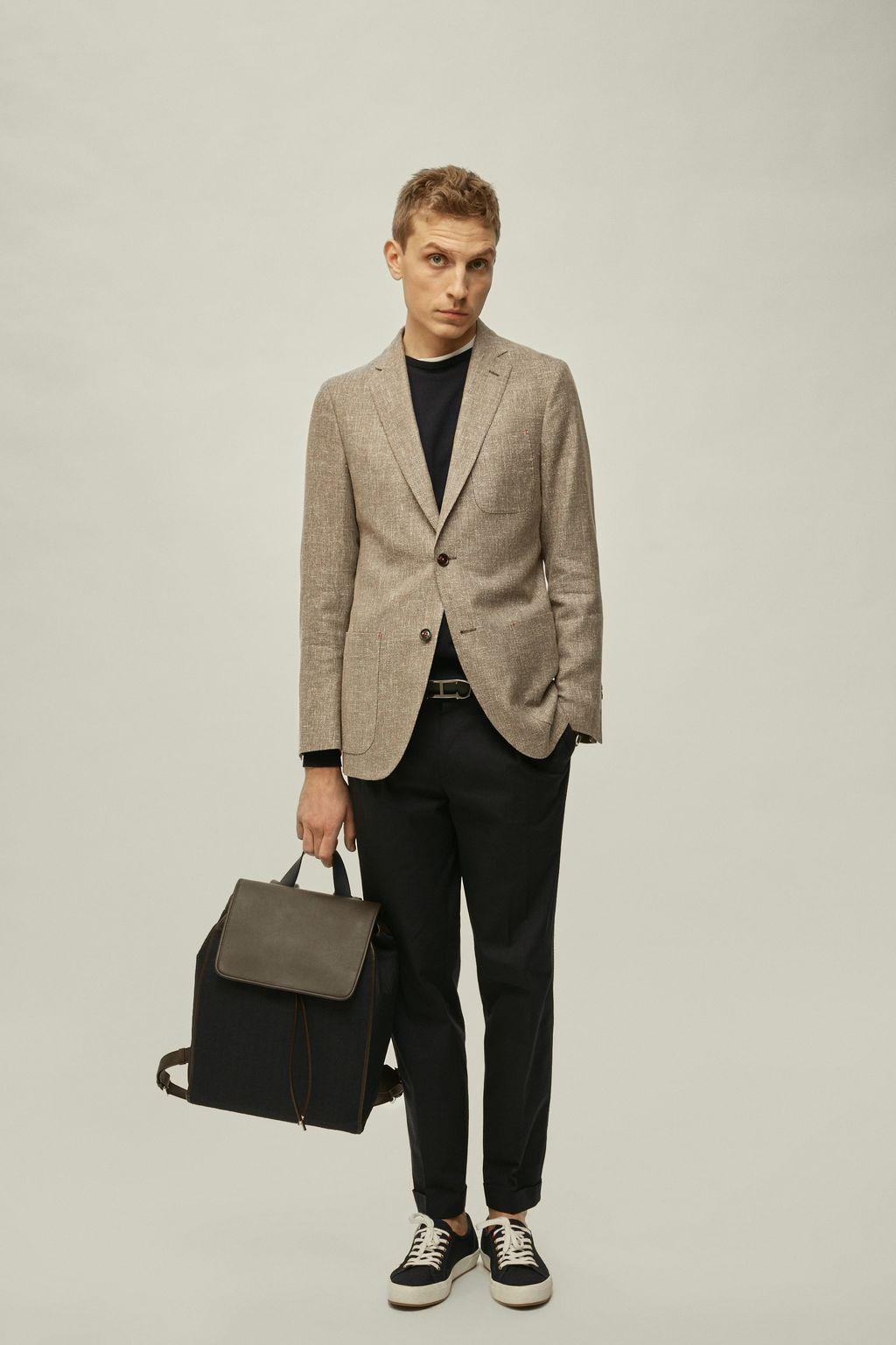 Structured linen-blend blazer