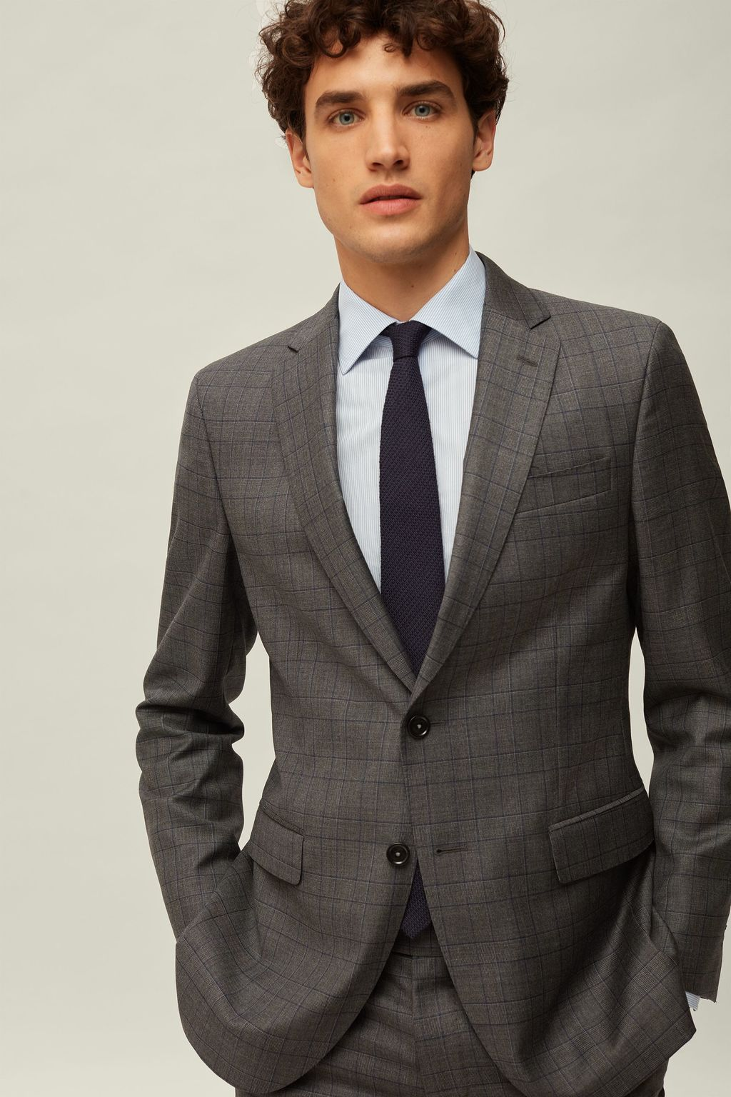 Prince of Wales checked suit jacket