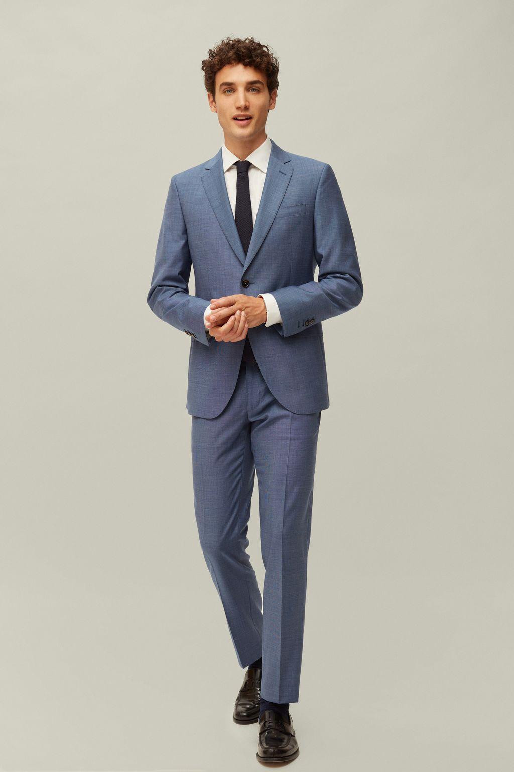 Structured virgin wool suit jacket