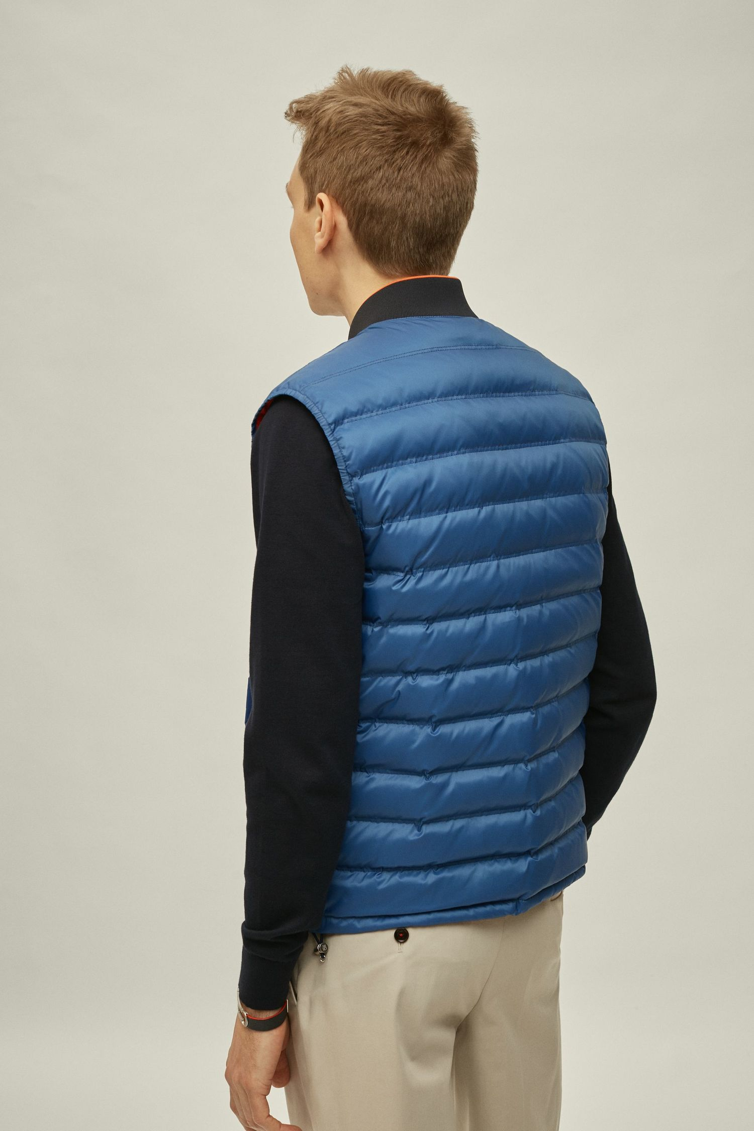 Reversible quilted nylon down gilet