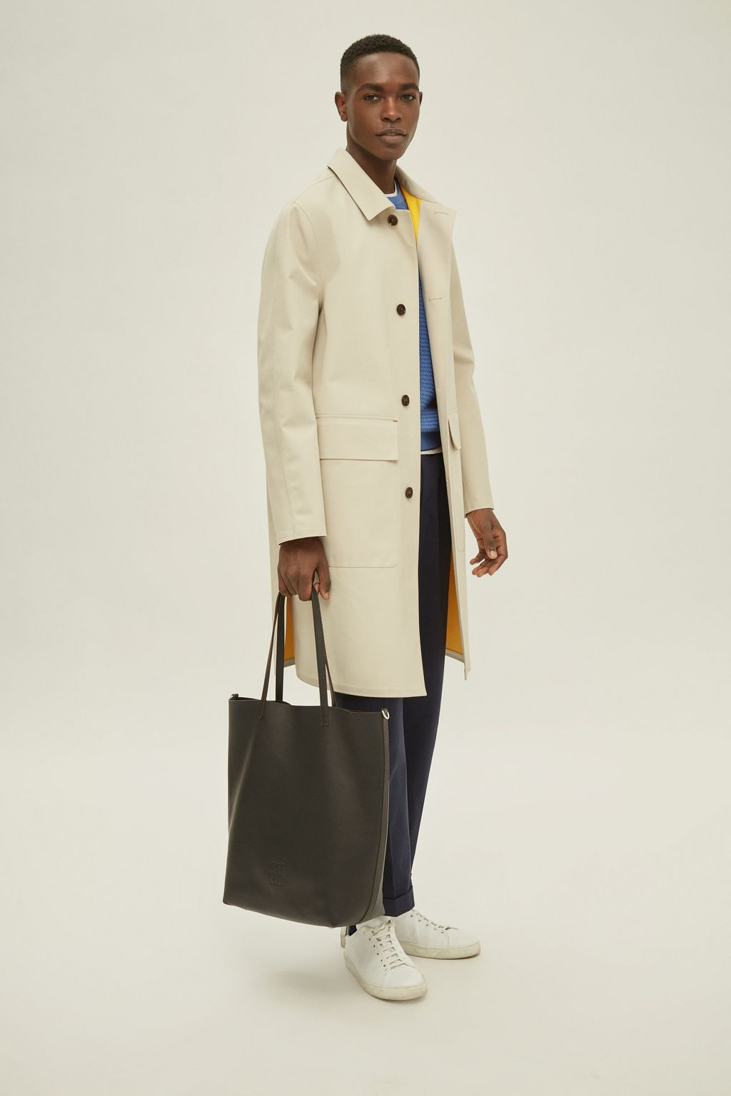 Nylon twill trench coat