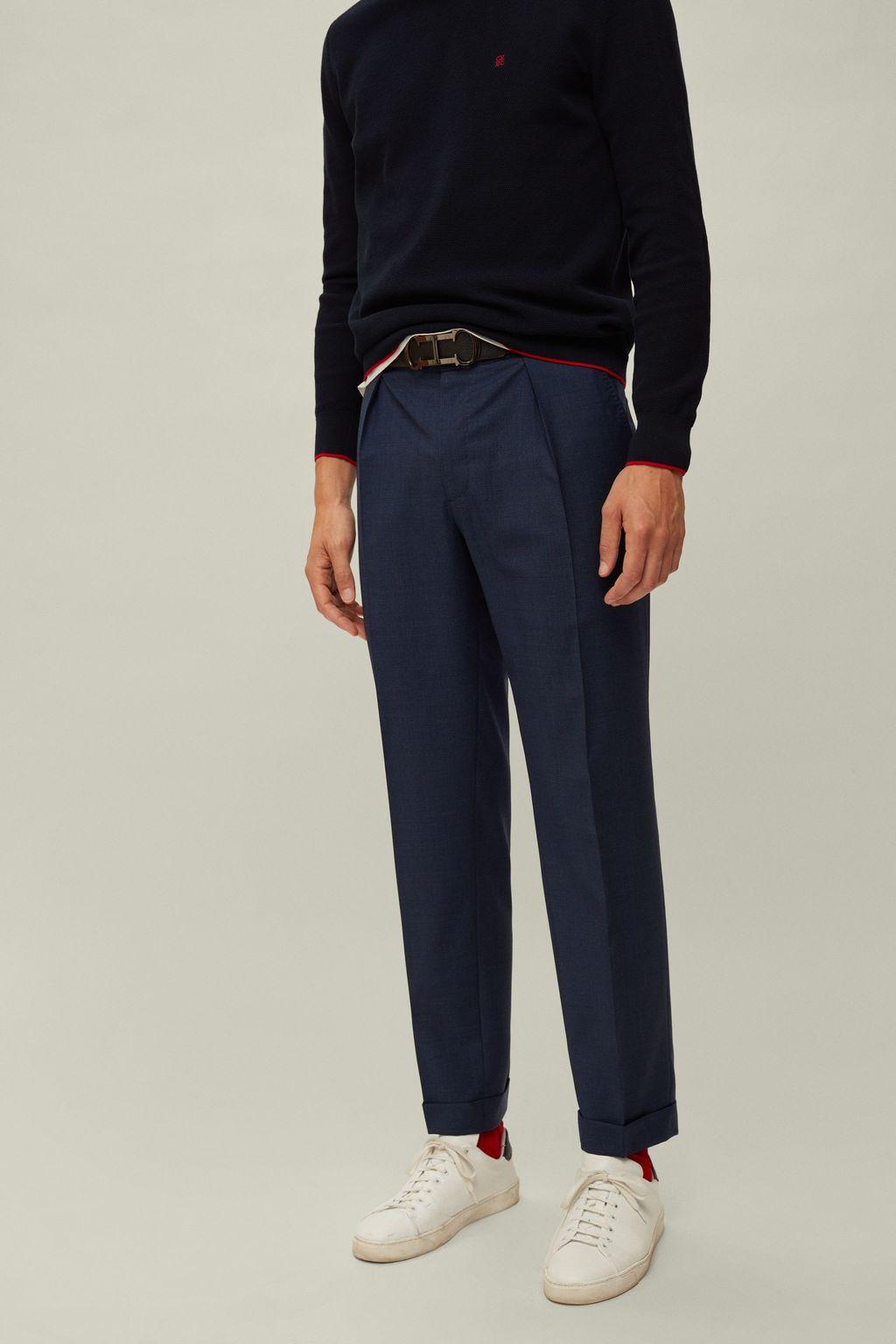 Regular fit houndstooth pants
