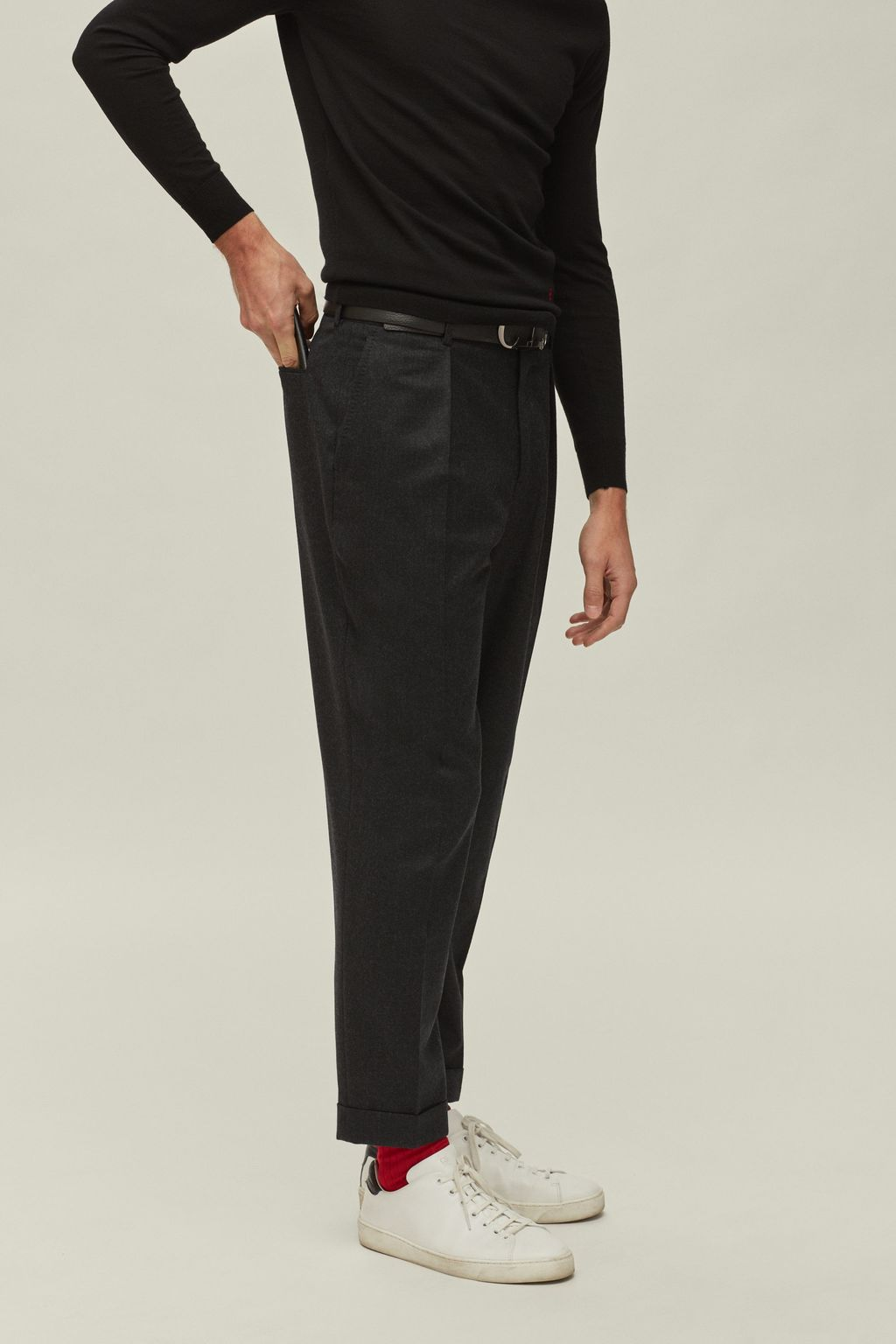 Regular fit wool pants
