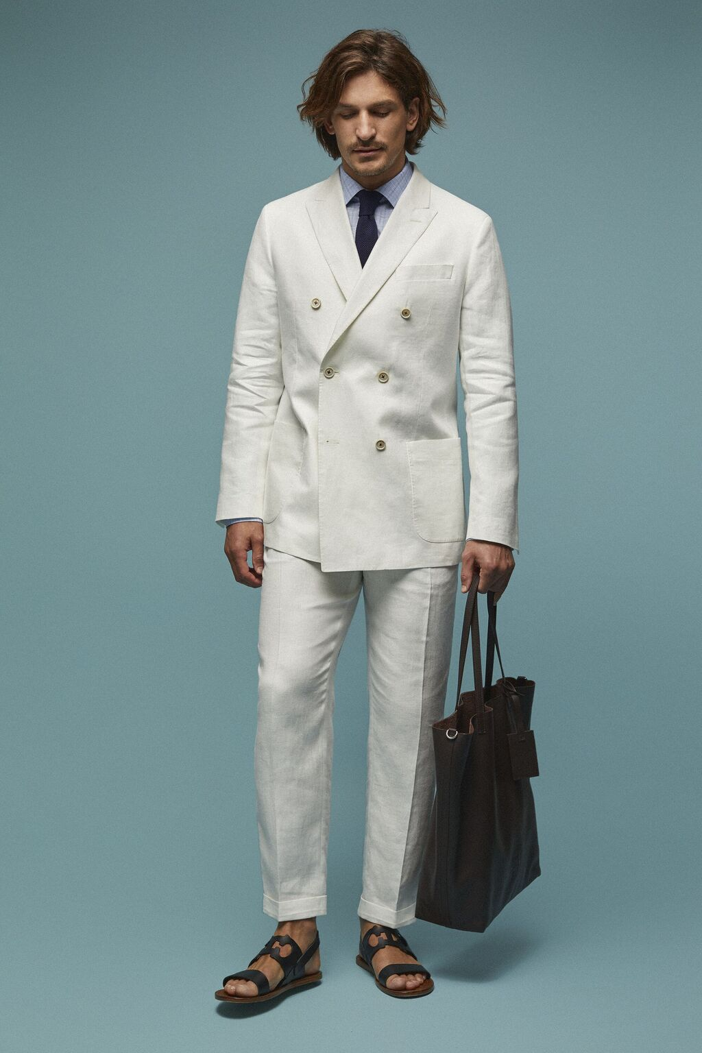 Regular fit linen pants