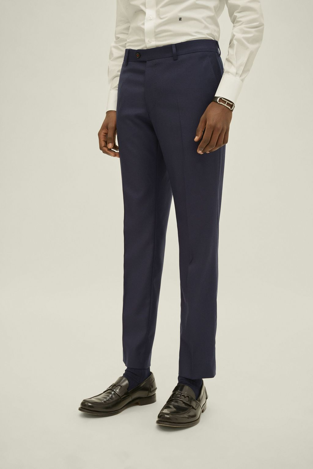 Structured virgin wool suit pants