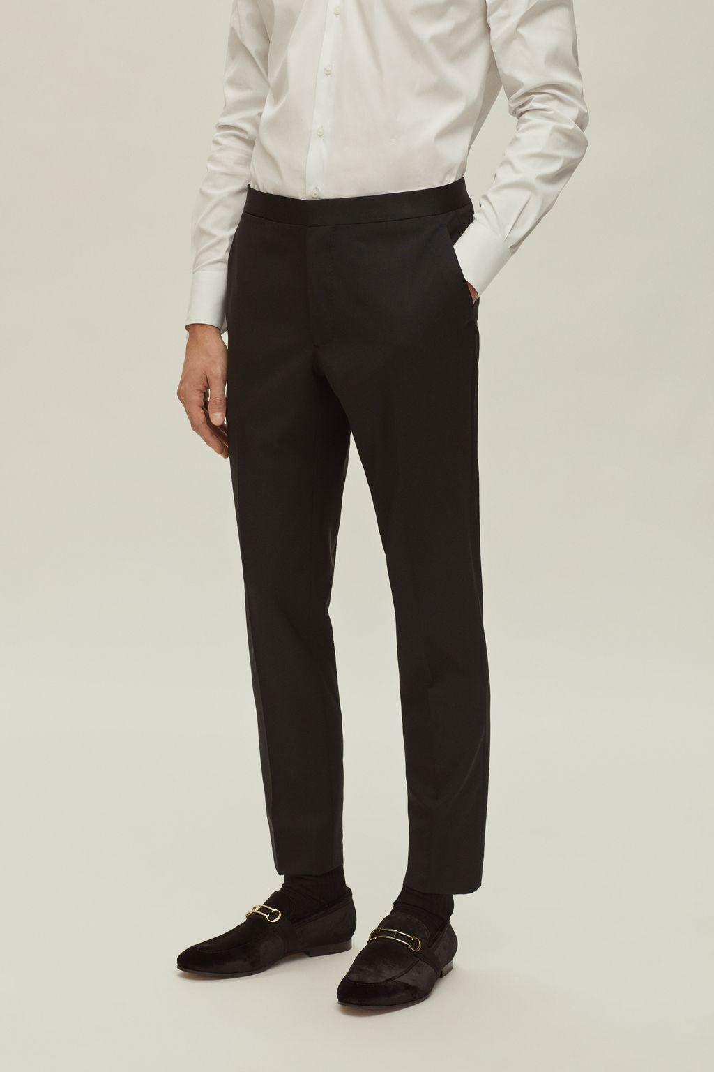 Cool wool tuxedo pants