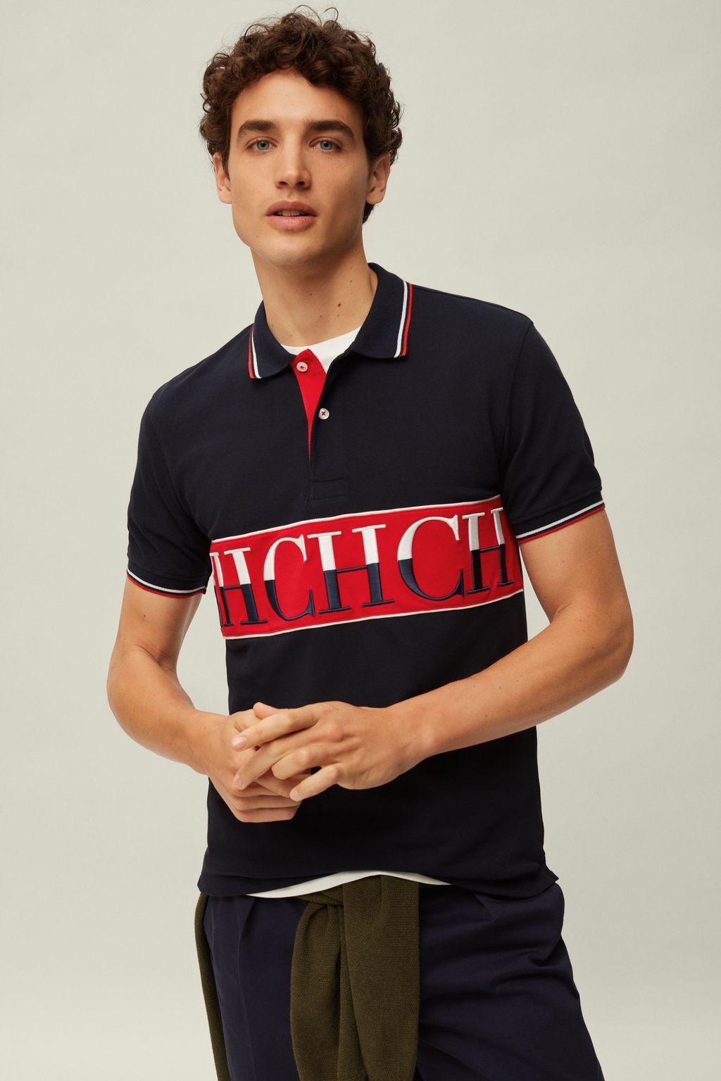 Piqué polo shirt with CH band