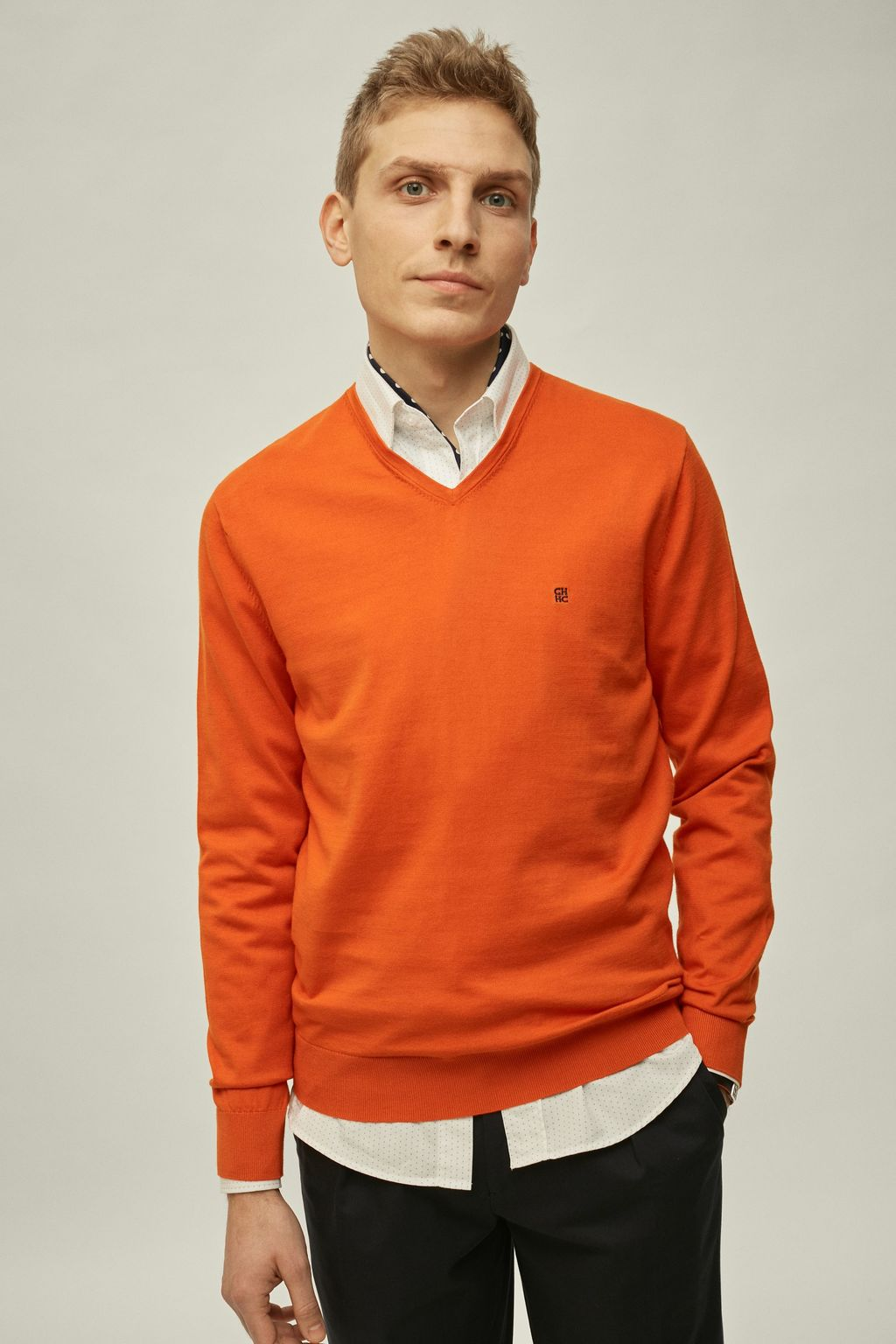 V-neck pima cotton sweater