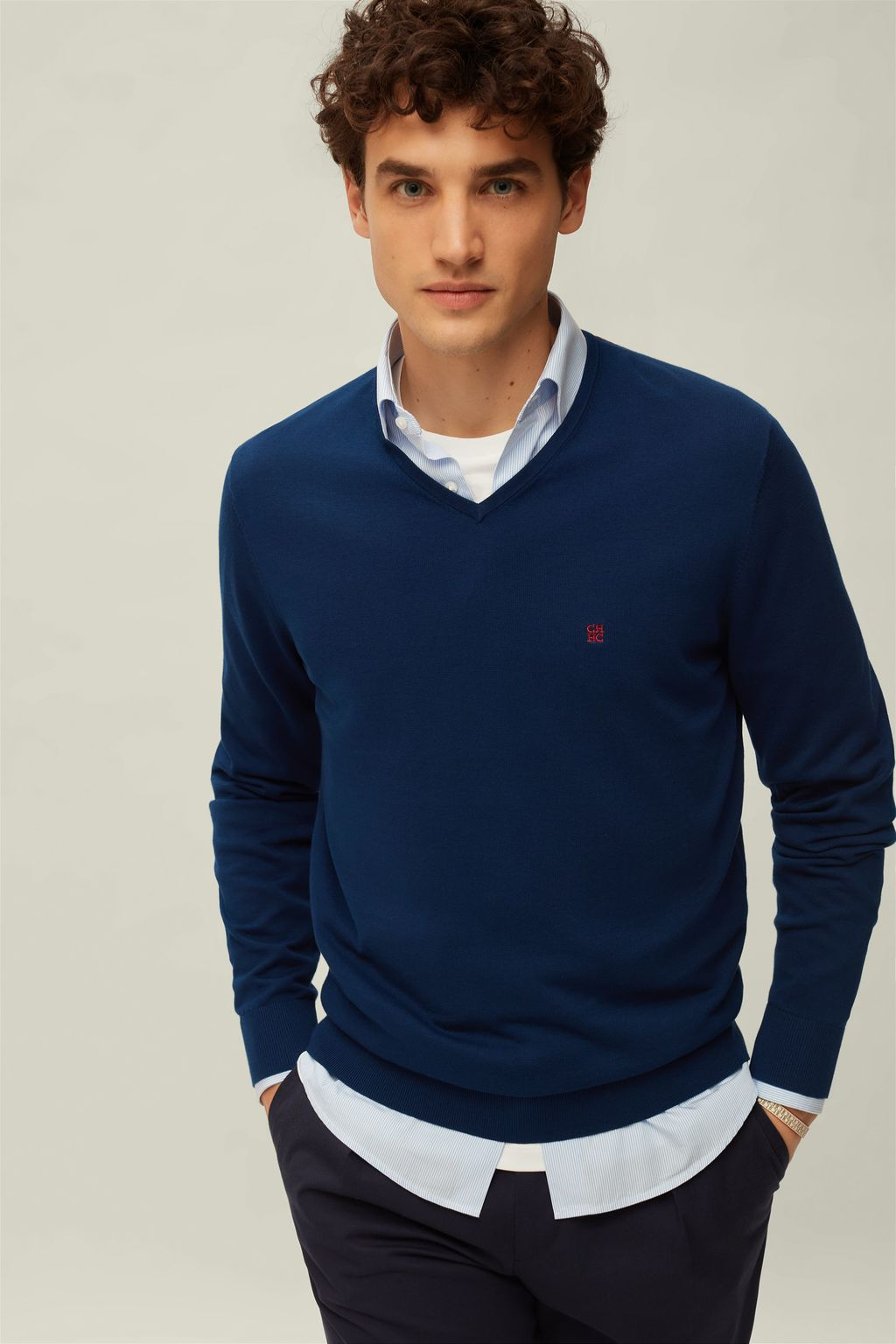 V-neck combed cotton sweater