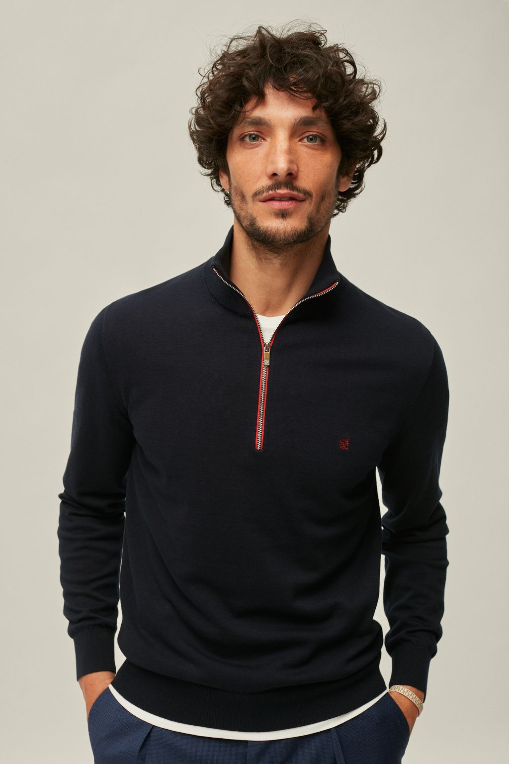 Combed cotton half-zip sweater