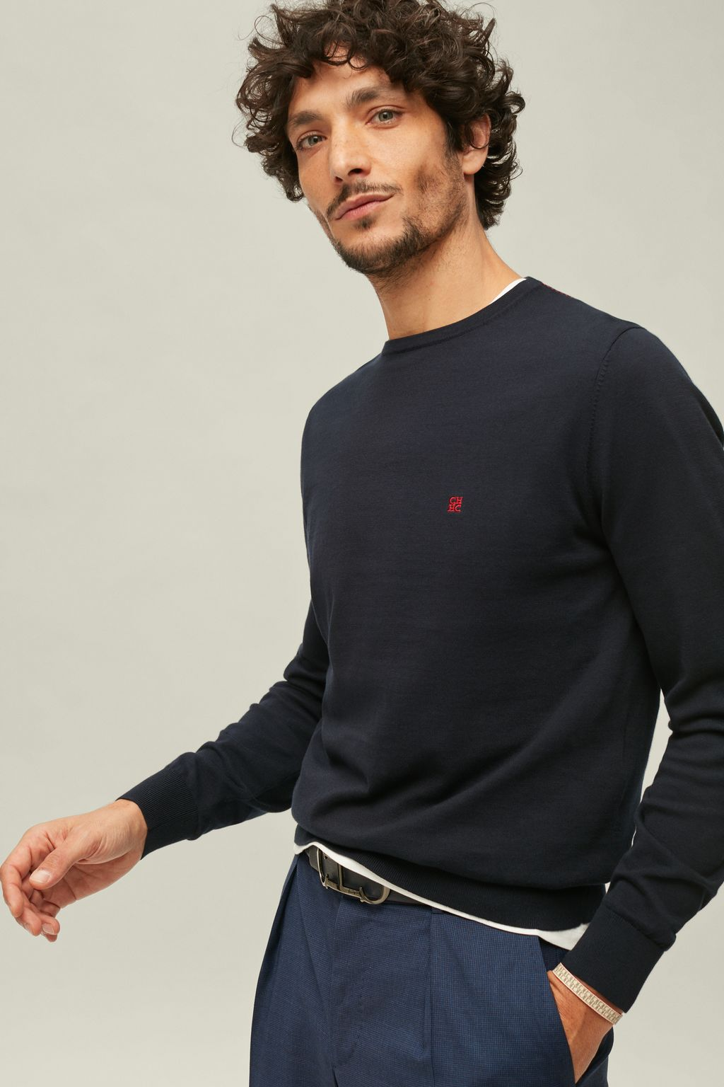 Combed cotton crew-neck sweater