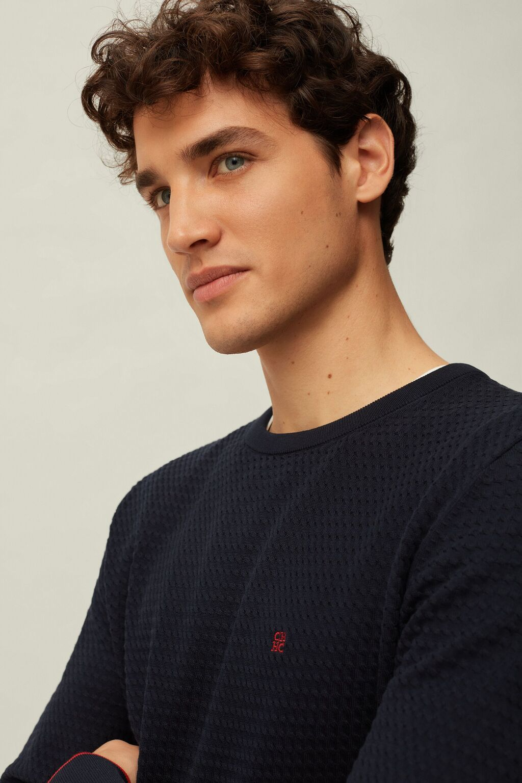 Braided cotton sweater