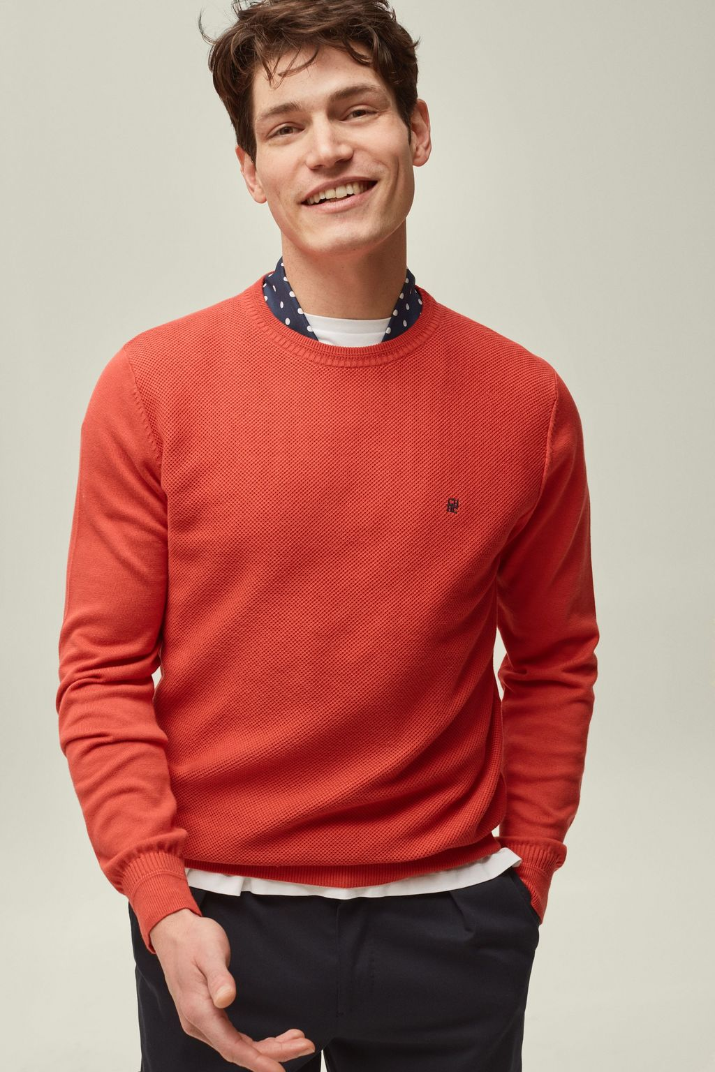 Textured combed cotton sweater