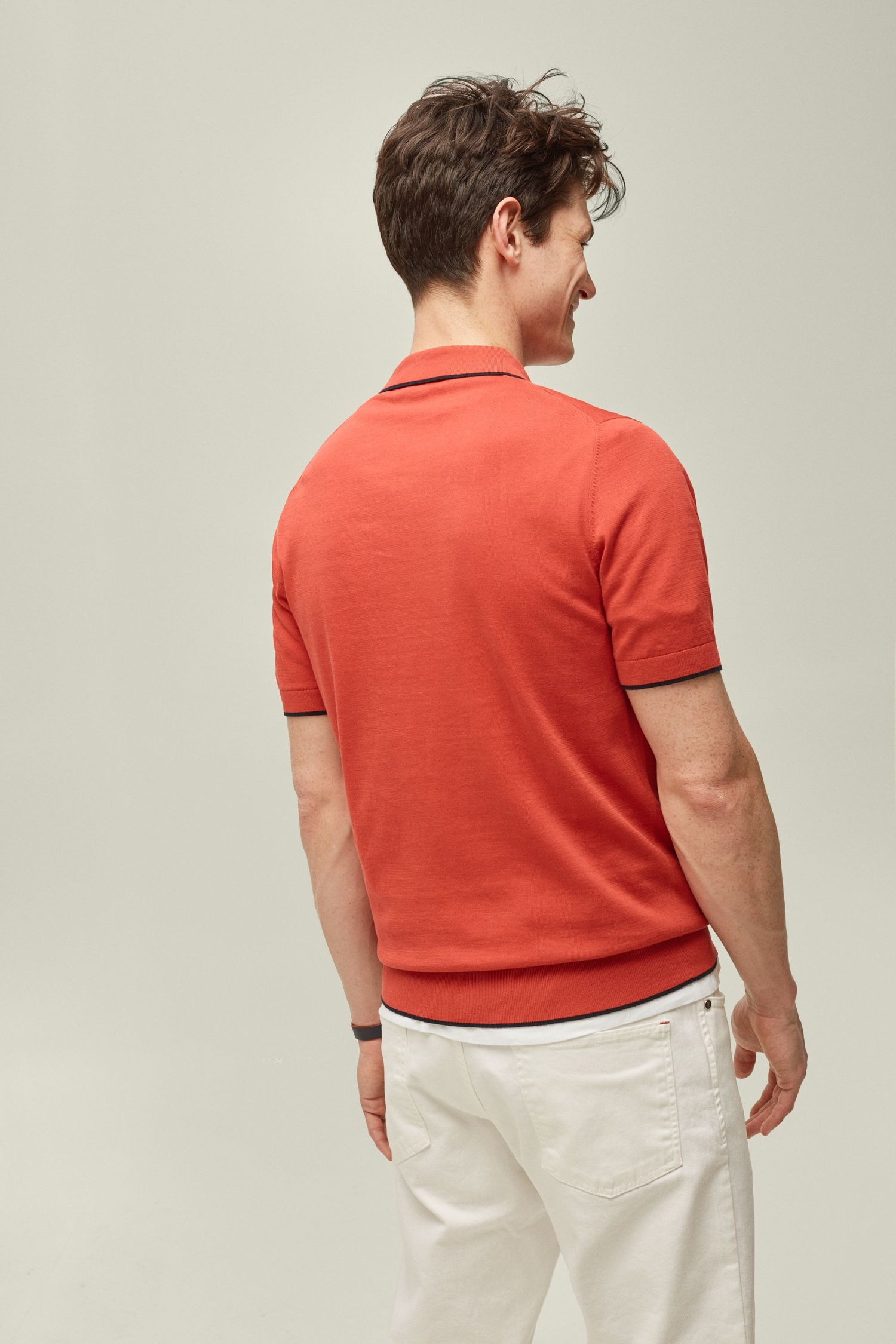 Gassed cotton polo shirt