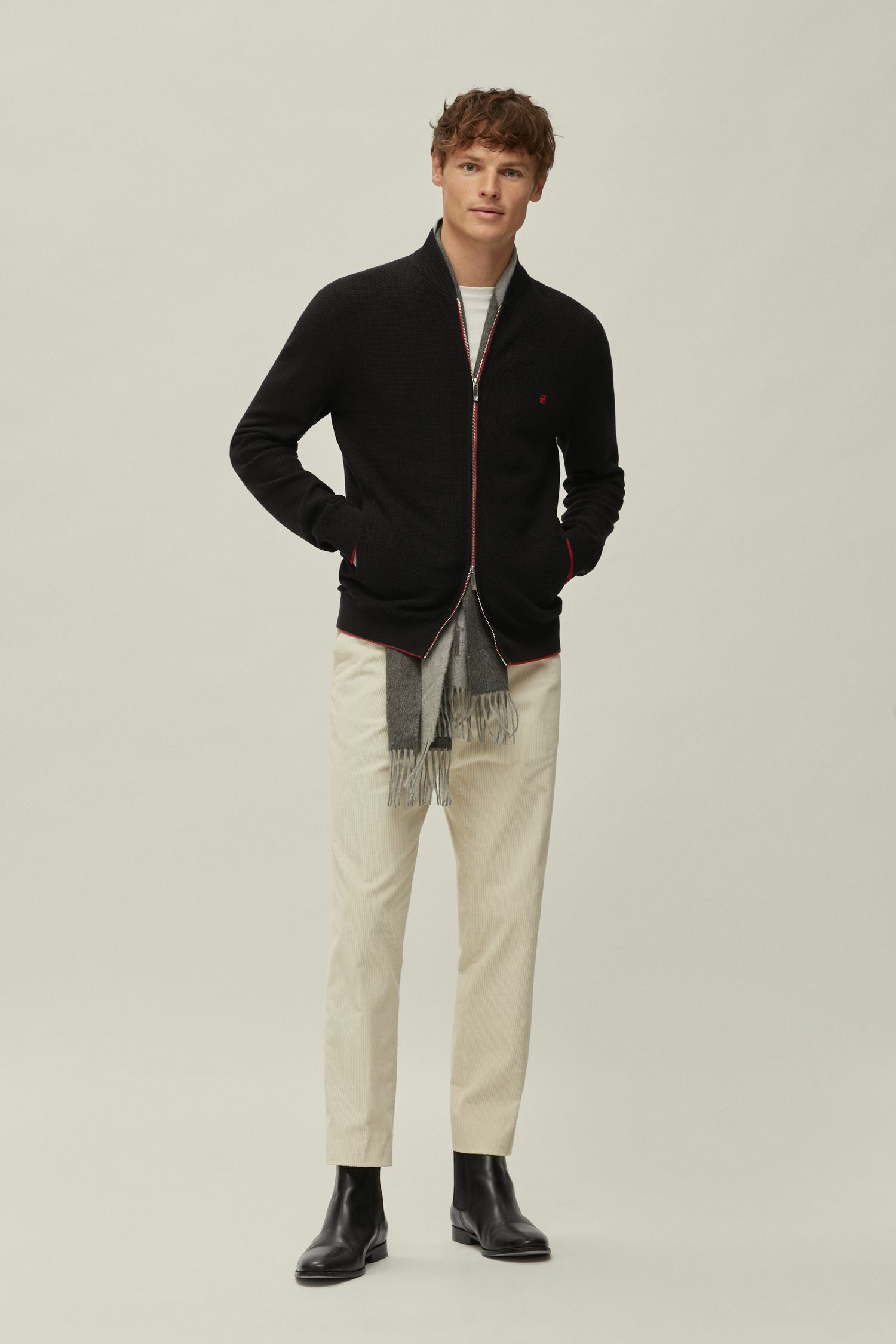 Combed cotton zip-up sweater
