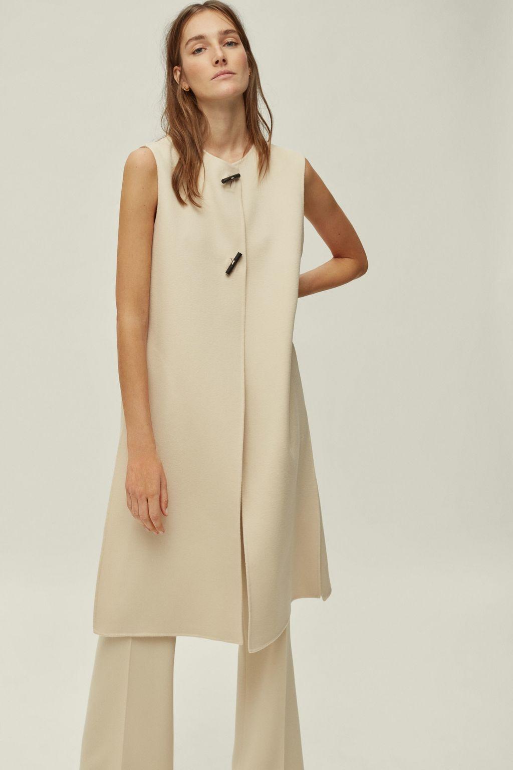 Double-faced wool longline vest