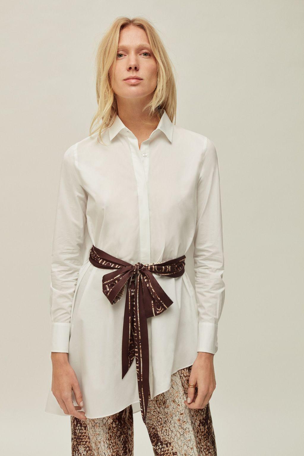 Asymmetric shirt with belt