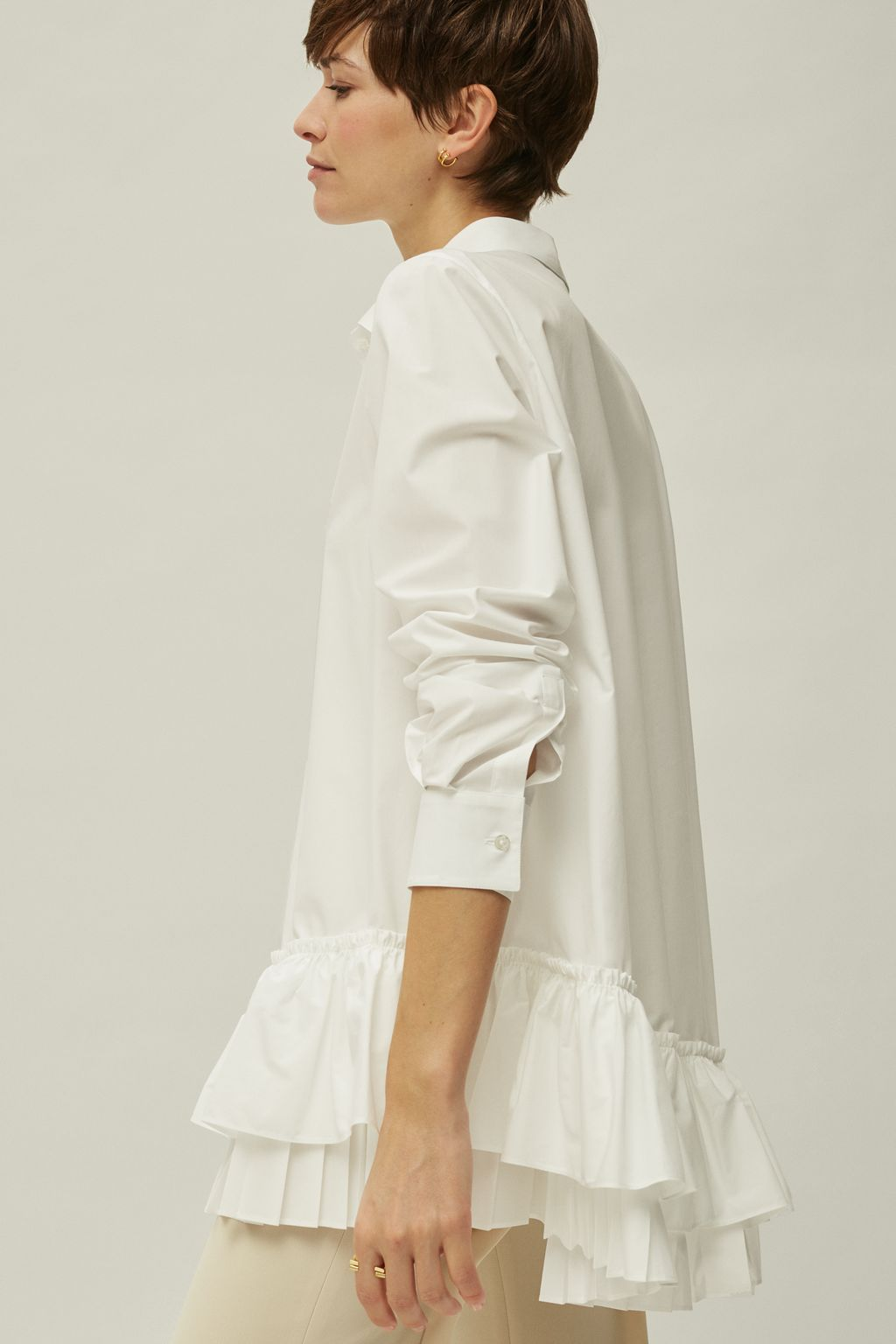 White Shirt with tiered ruffles