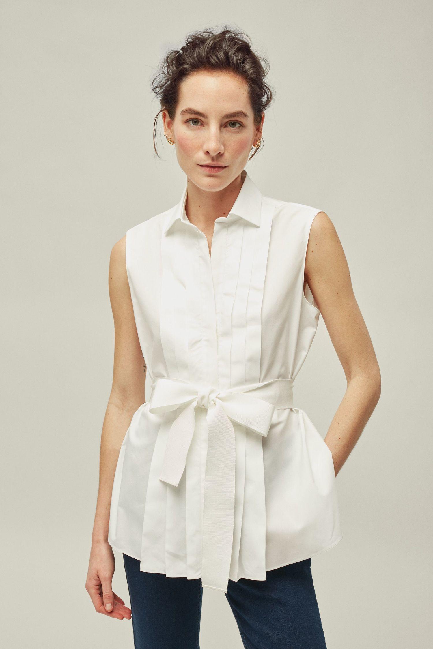 Pleated White Shirt