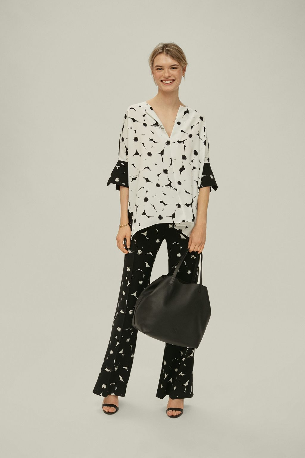 Oversized floral crepe top