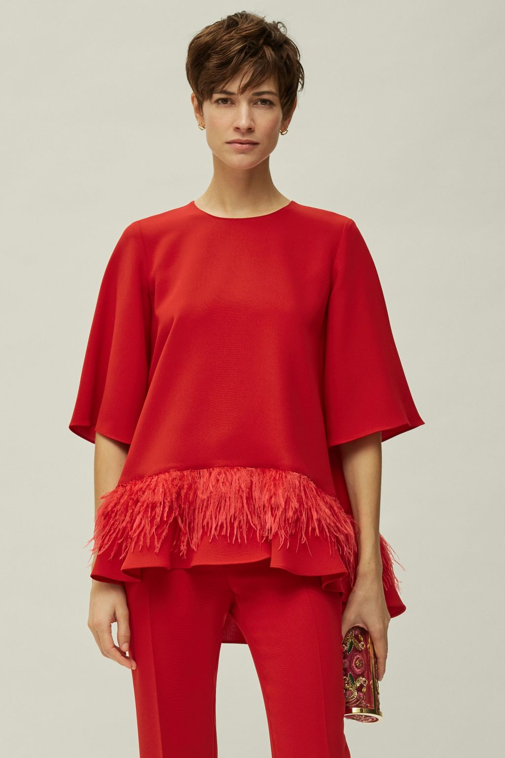 A-line crepe top with feathers
