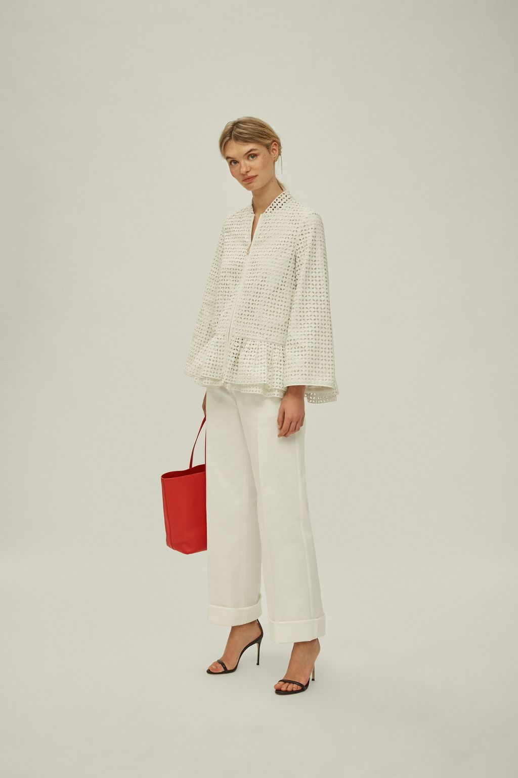 Ruffled perforated cotton jacket