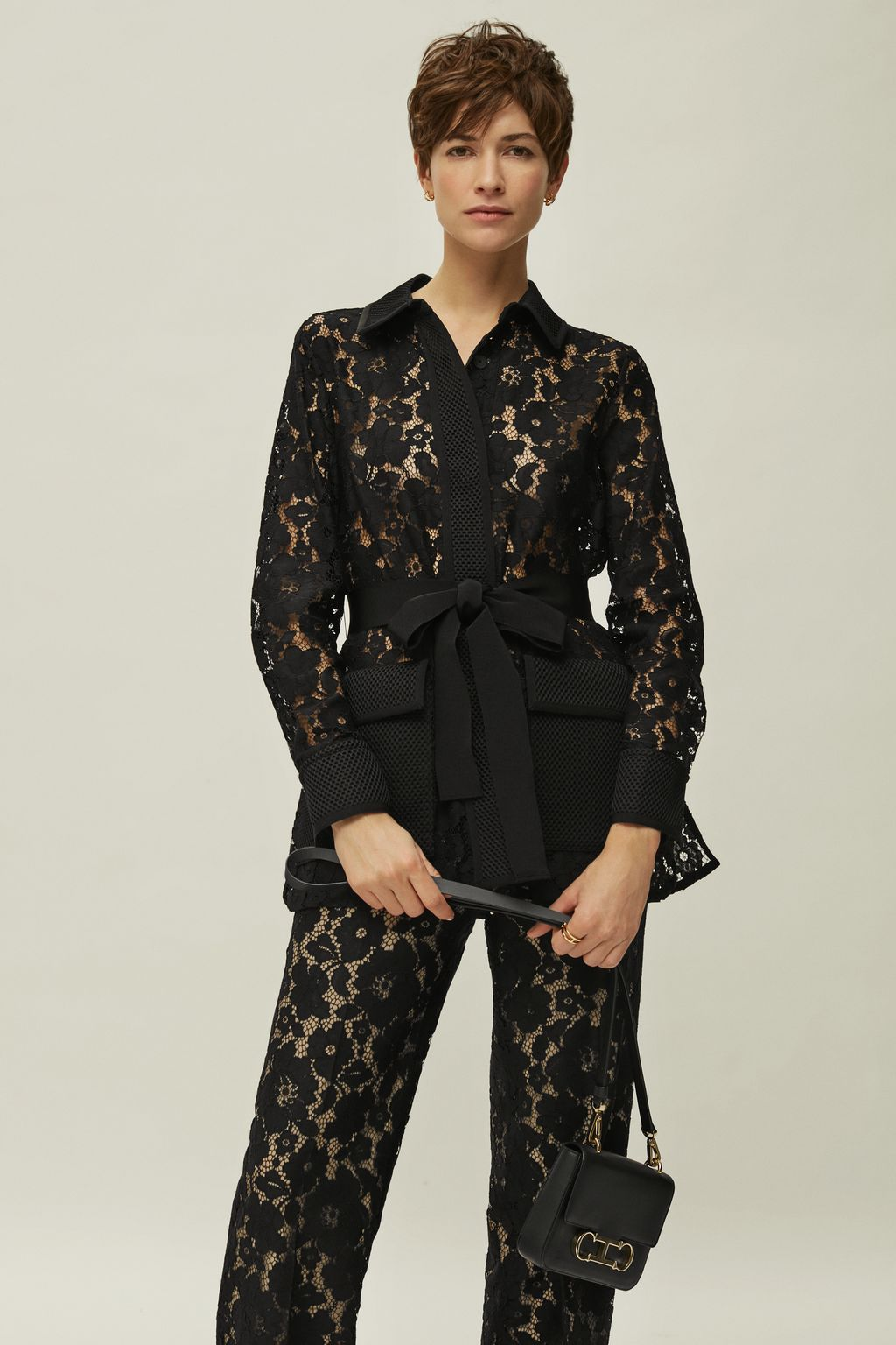 Lace and neoprene jacket
