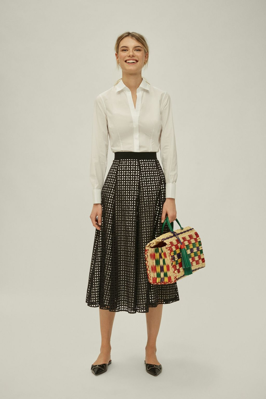 Perforated cotton midi skirt