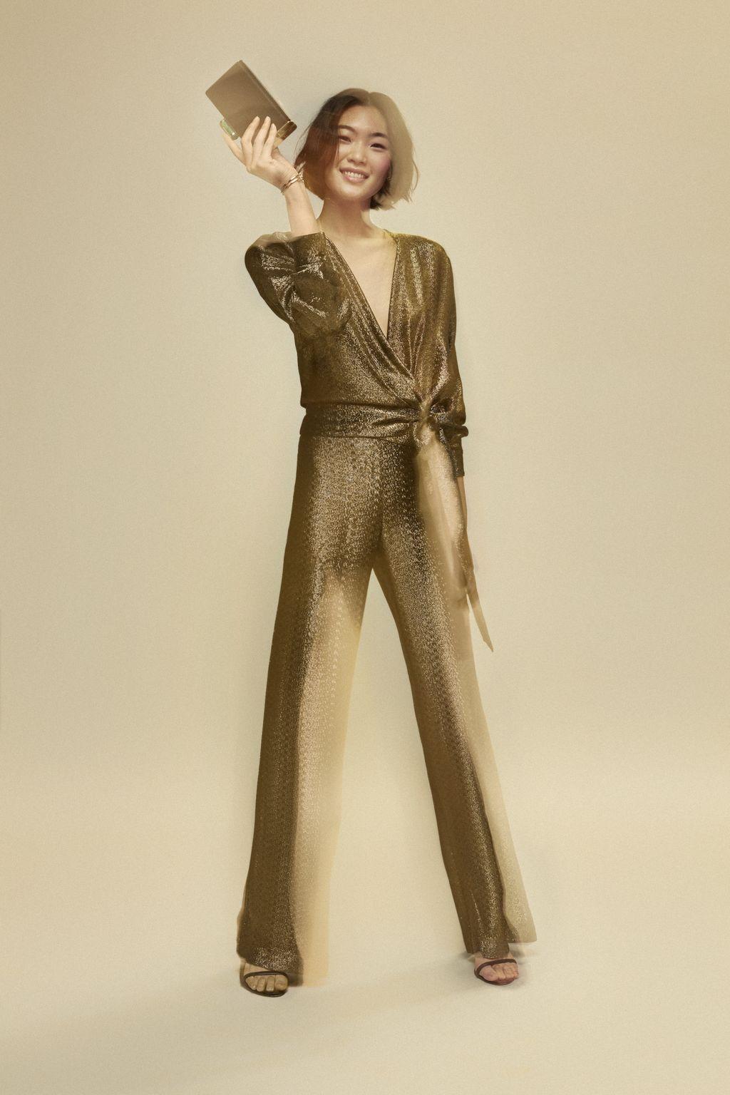 Metallic straight-leg pants
