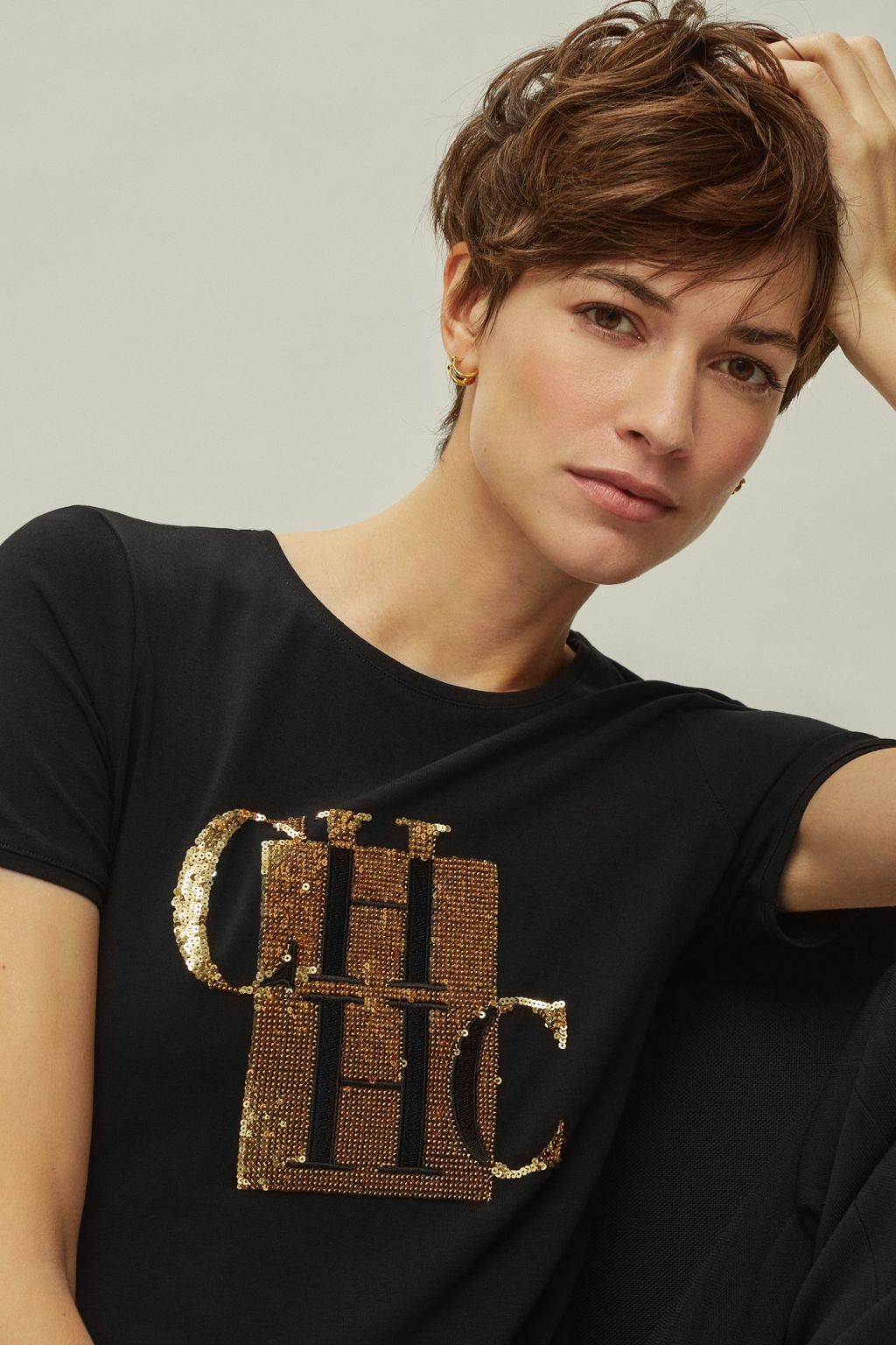 Sequined CH cotton t-shirt