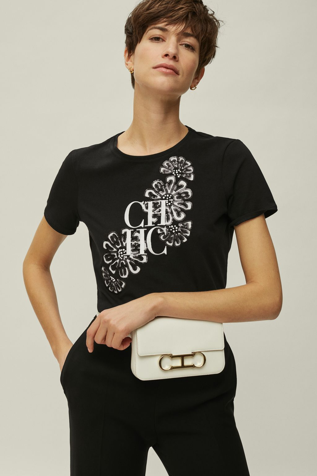 CH cotton t-shirt with flowers
