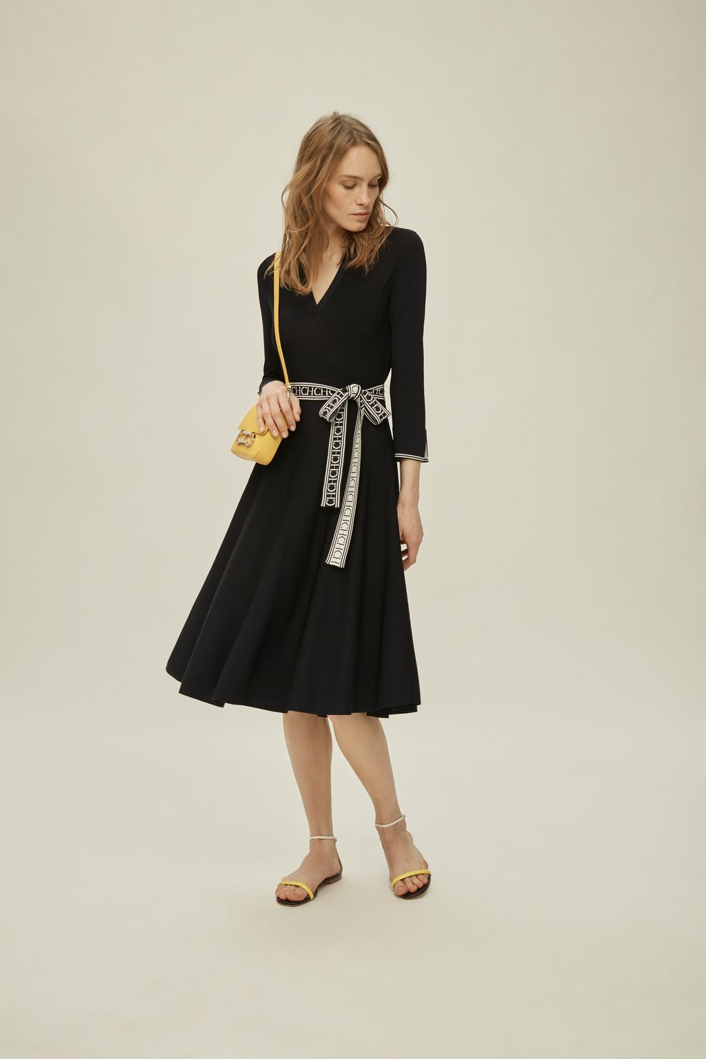 Stretch-knit dress with belt