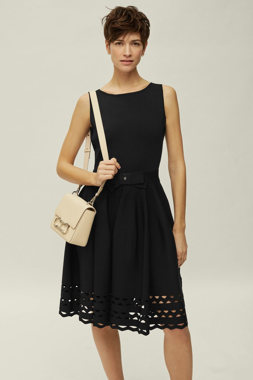 Stretch-knit dress with perforated panels