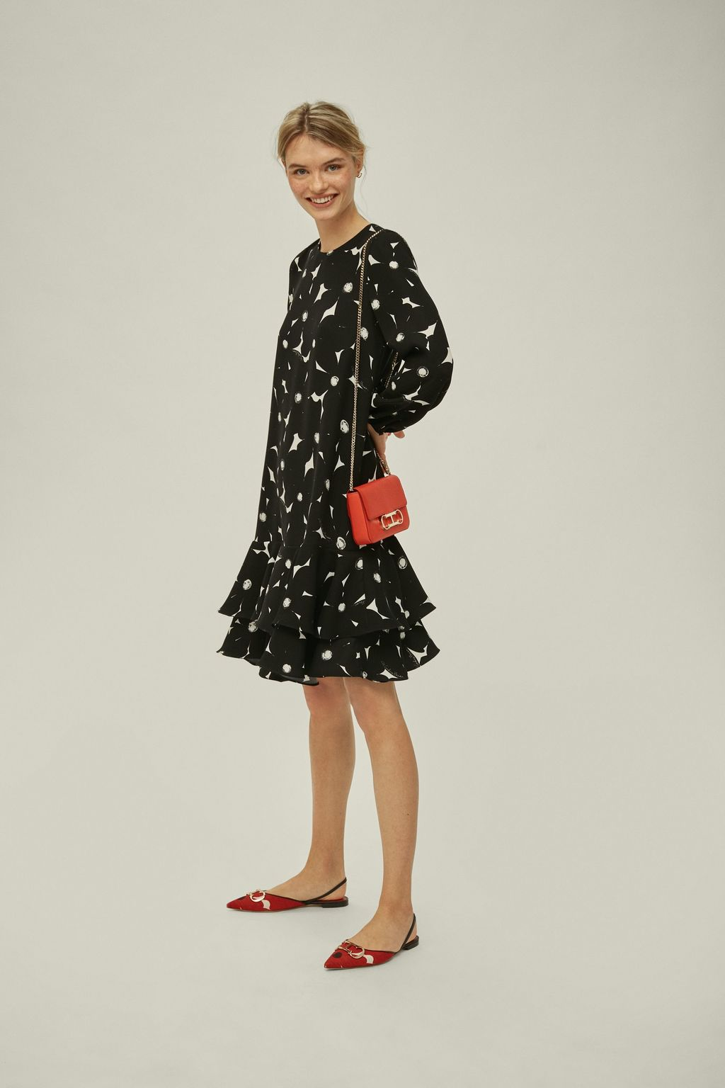 Ruffled floral crepe dress