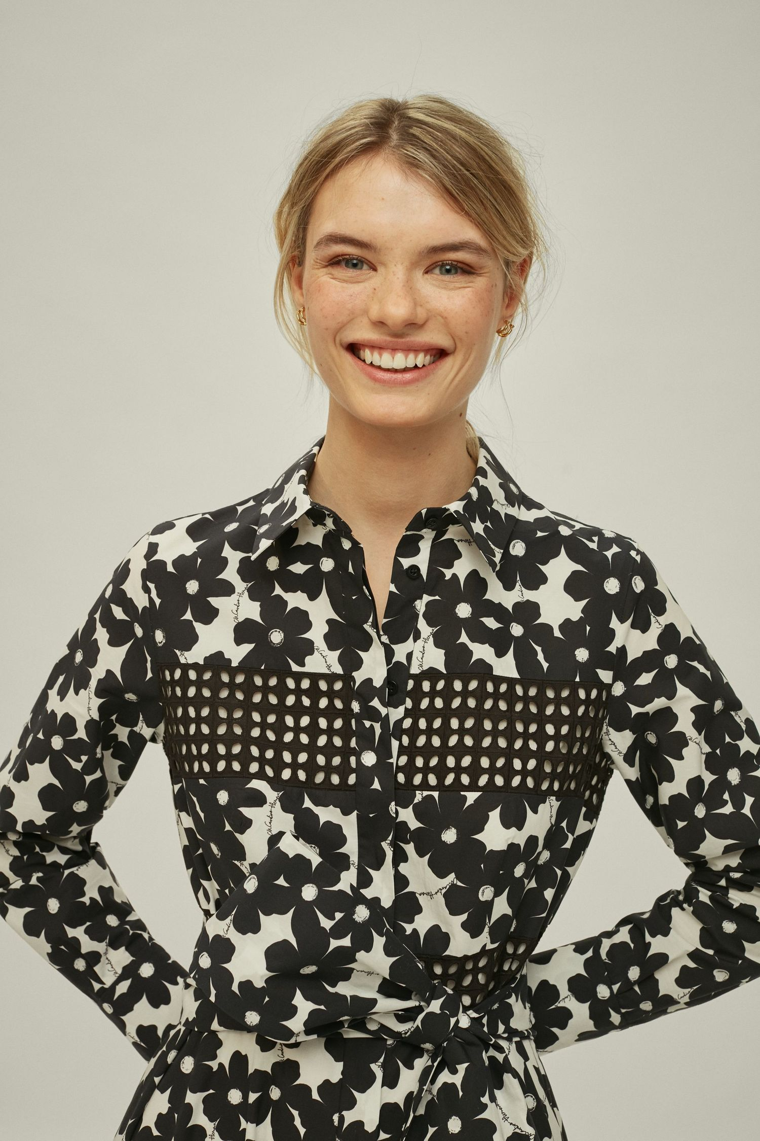 Floral poplin shirt dress