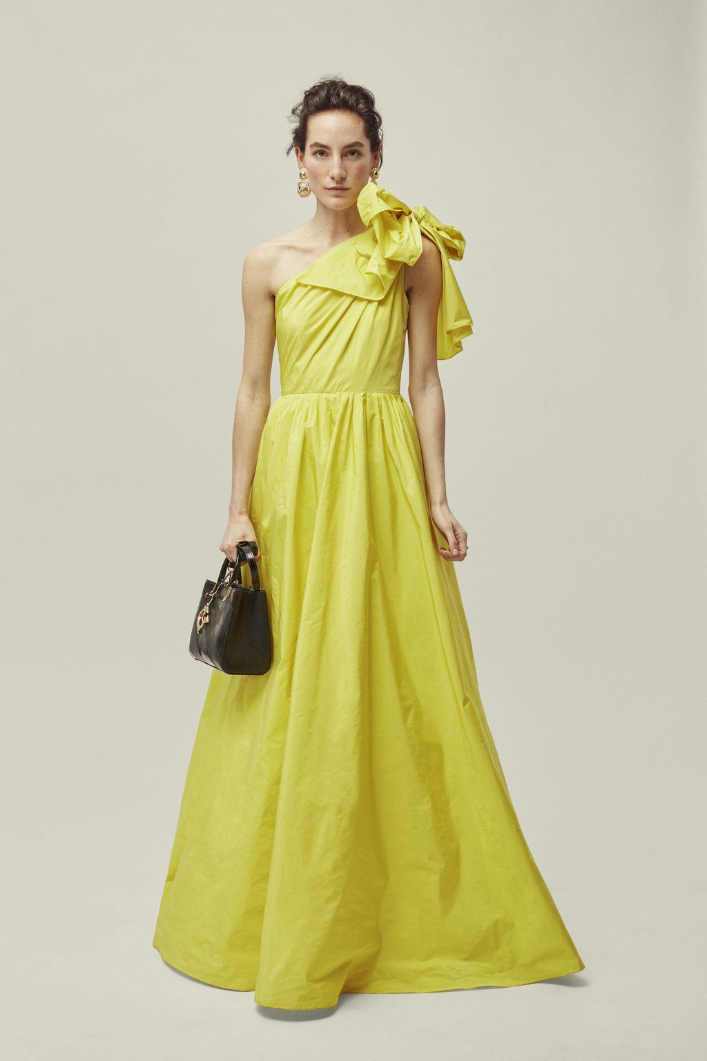 Asymmetric taffeta dress