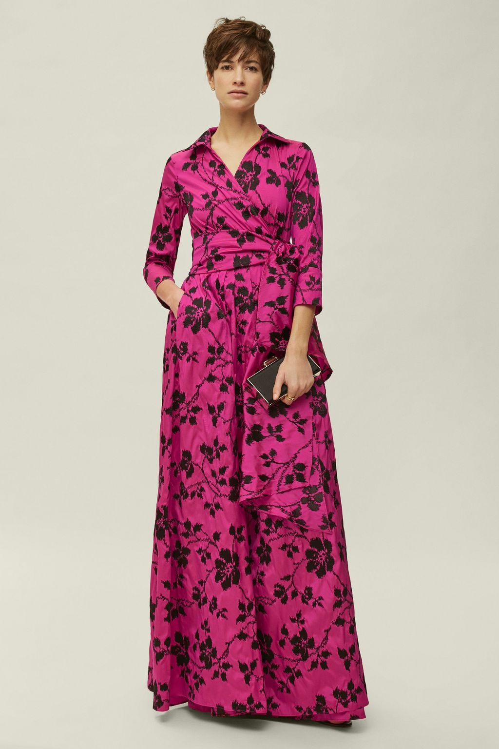 Embroidered taffeta wrap dress