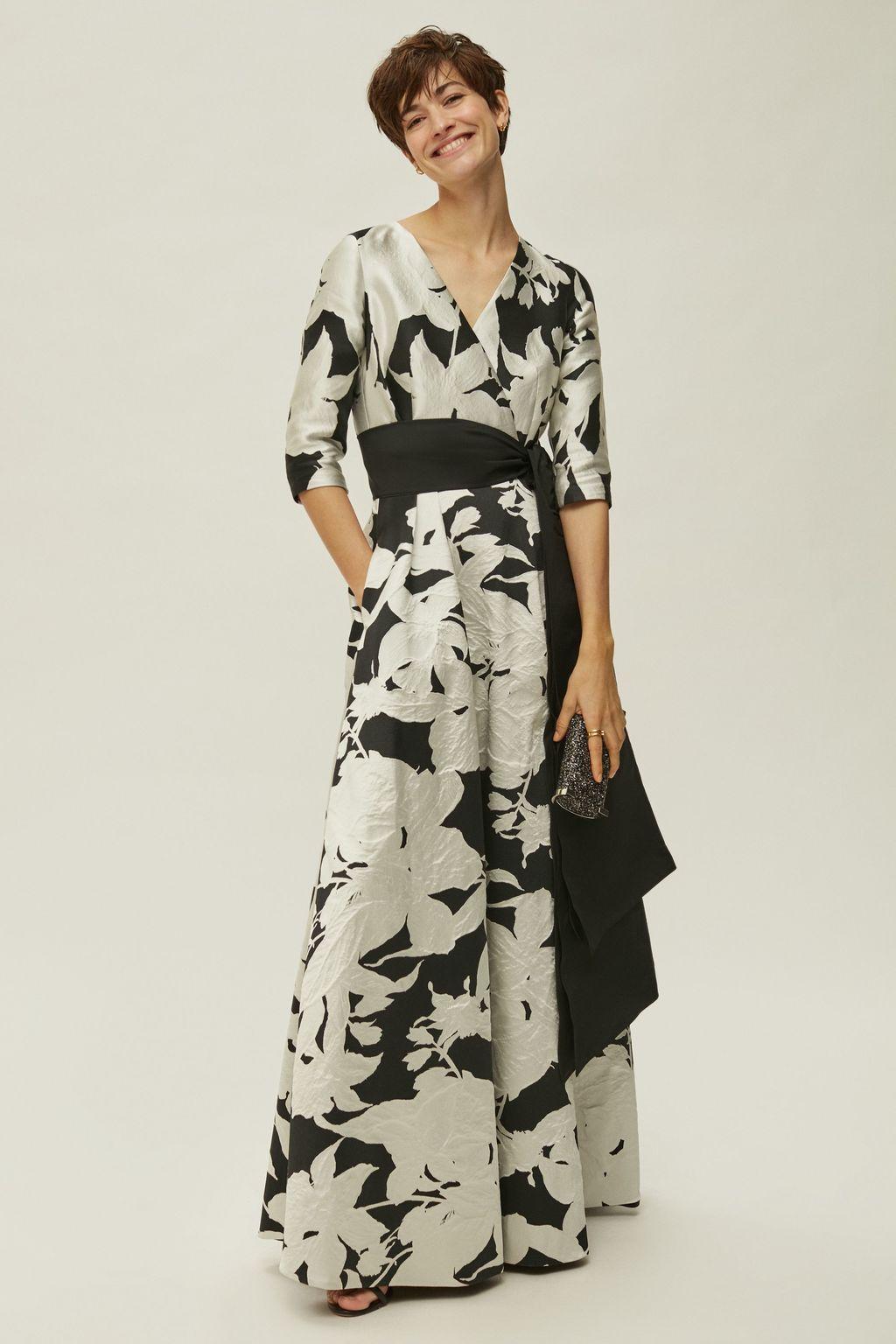 Brocade wrap-effect dress