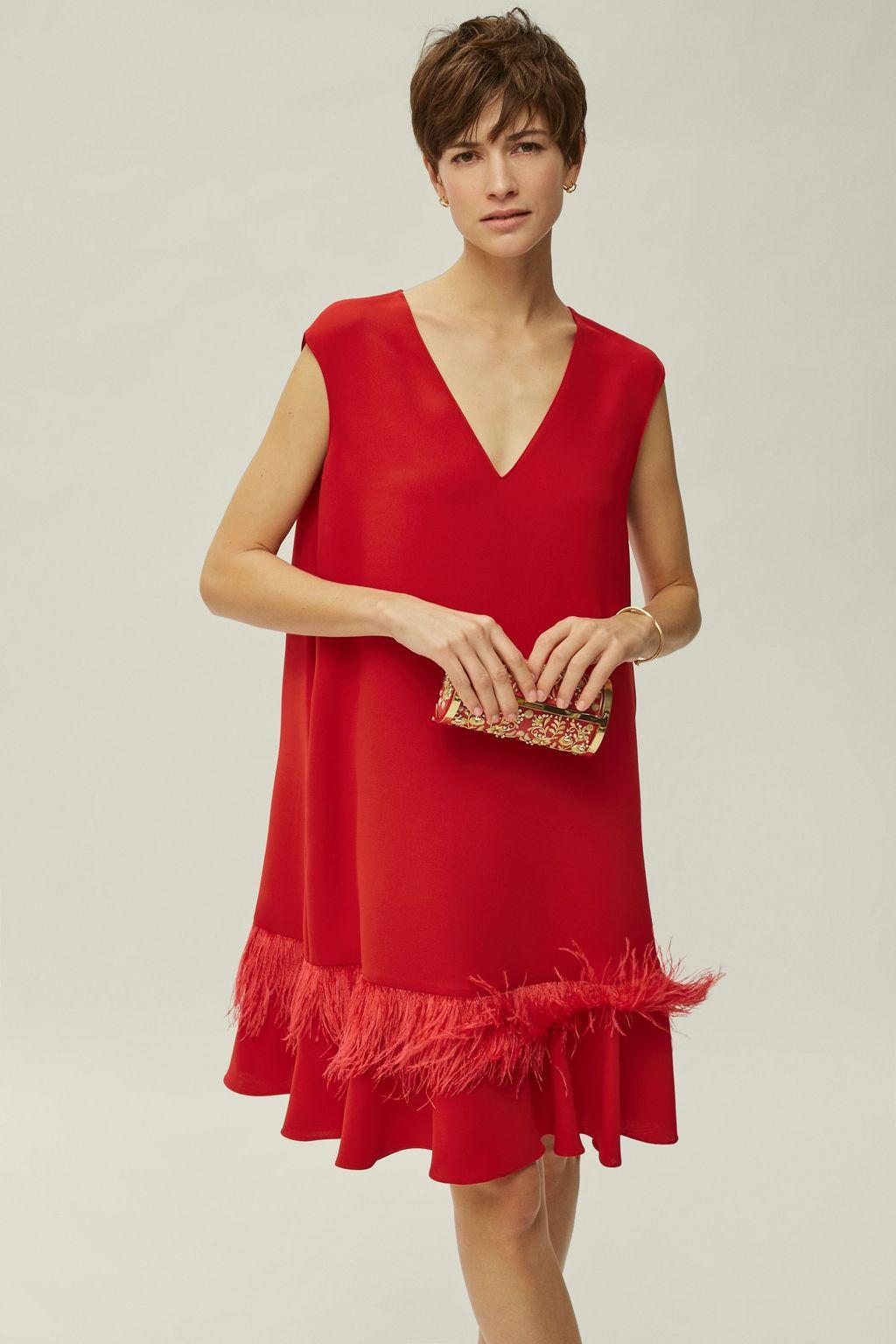 Feather-embellished crepe dress